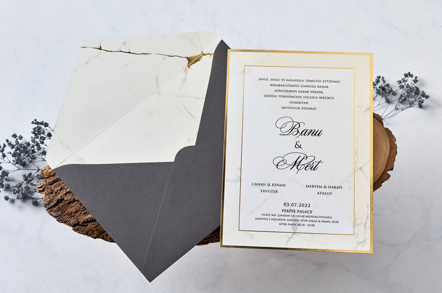 Gray Envelope With Marble Design Interior And Marble Themed Gold Hot Foil Framed Premium Paper Wedding Engagement and Event Invitations