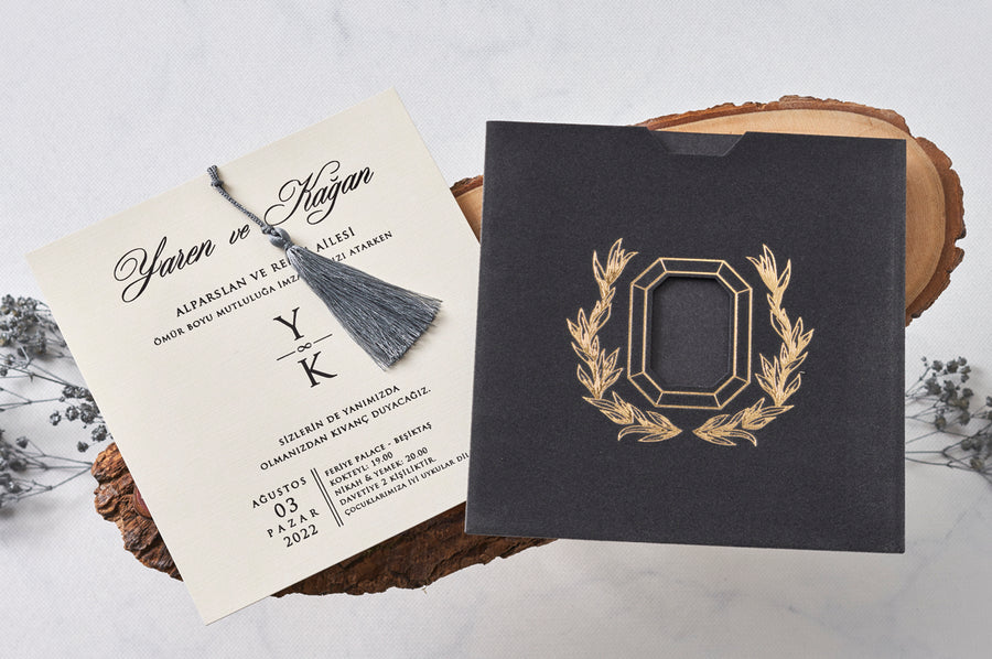Grey Velvet with Grey Fringe Invitation Framed with Gold Embossed Laser Cut Area Wedding Engagement and Event Invitations