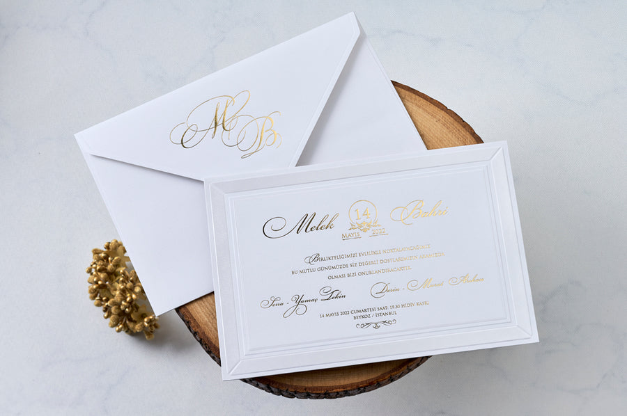 Modest White Gold Foil Initial Outer Envelope with White Embossed Gold Foil Print Wedding Engagement and Event Invitation