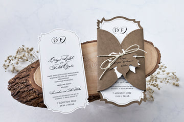 Fall Themed Folded Premium Paper Invitation with Rope Seal and Leaf Shaped Name Tag Wedding Engagement and Event Invitations