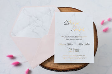 Personalized Premium Gold Printed White Marble Wedding Engagement and Event Invitations with Pink Envelope