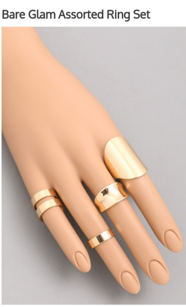 Gold  Glam Assorted Ring Set