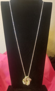 Twisted Gold & Silver CZ Necklace