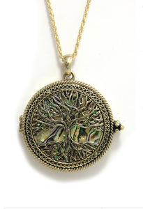 Tree of LIfe with Abalone Design Magnify Pendant Necklace-Gold