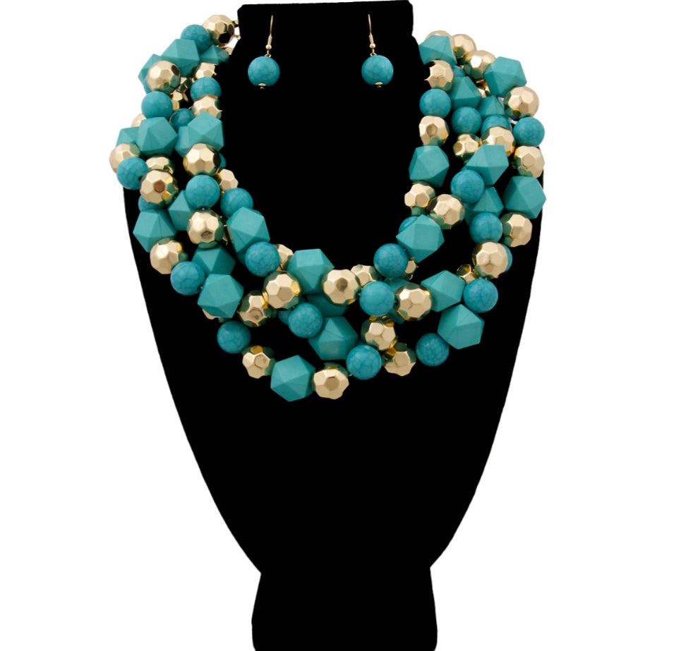 Turquoise and Gold Multi Shaped Bead Multi Strand Twisted Choker Necklace Set