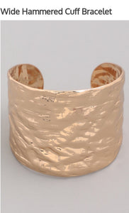 Gold Wide Hammered Cuff Bracelet