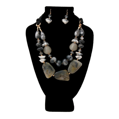 Black and Gray Swirled Marble and Stone Bead Layered Necklace Set Featuring Rope Detail