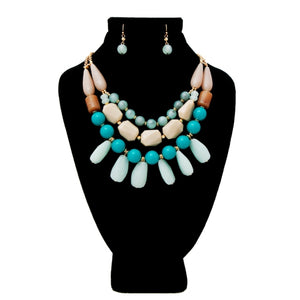 Teal and Gray Swirled Marble Bead Layered Necklace Set Featuring Drop Detail