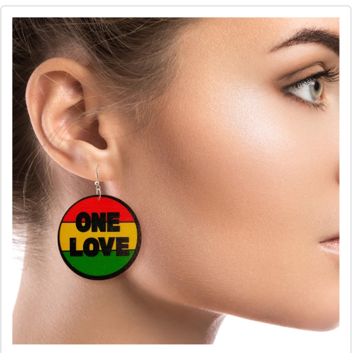 ONE LOVE Wooden Earrings