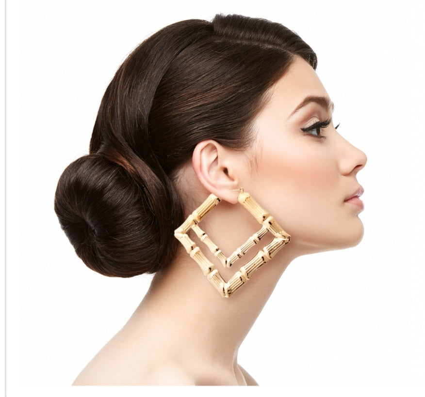 Square Gold Bamboo Hoop Earrings