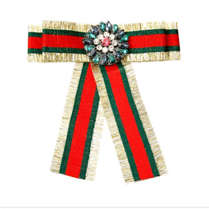 Green and Red Bowtie Brooch