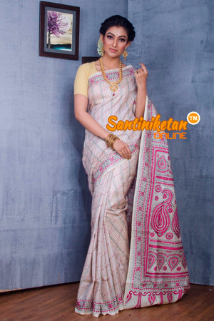 Traditional Kantha Stitch Saree SN2018856