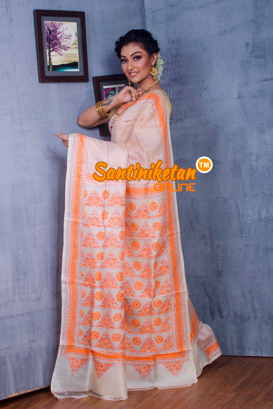 Traditional Kantha Stitch Saree SN2018859