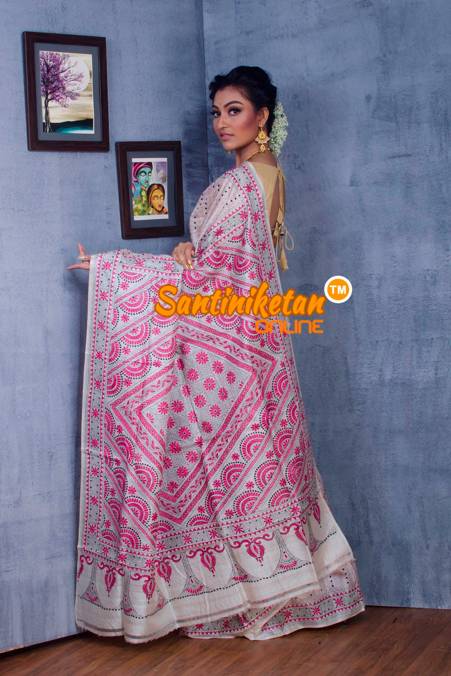 Traditional Kantha Stitch Saree SN2018862