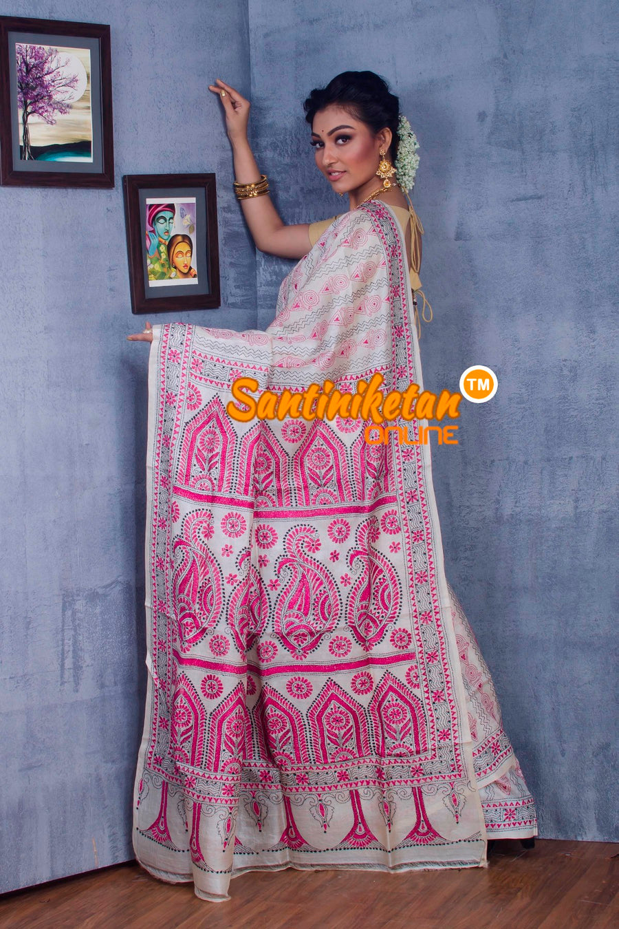 Traditional Kantha Stitch Saree SN2018874
