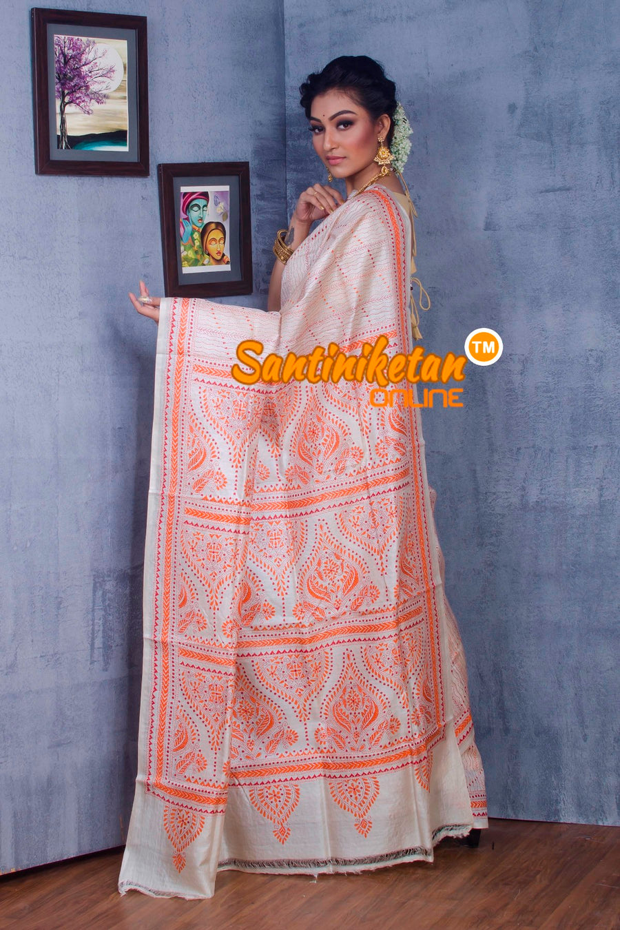 Traditional Kantha Stitch Saree SN2018875