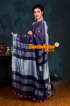 Handwoven Pure Linen Embroidery Saree SN20181007