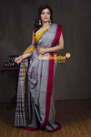 Red And Yellow Border Full Tribal Work Saree With Naksha Anchal (SN2017202)