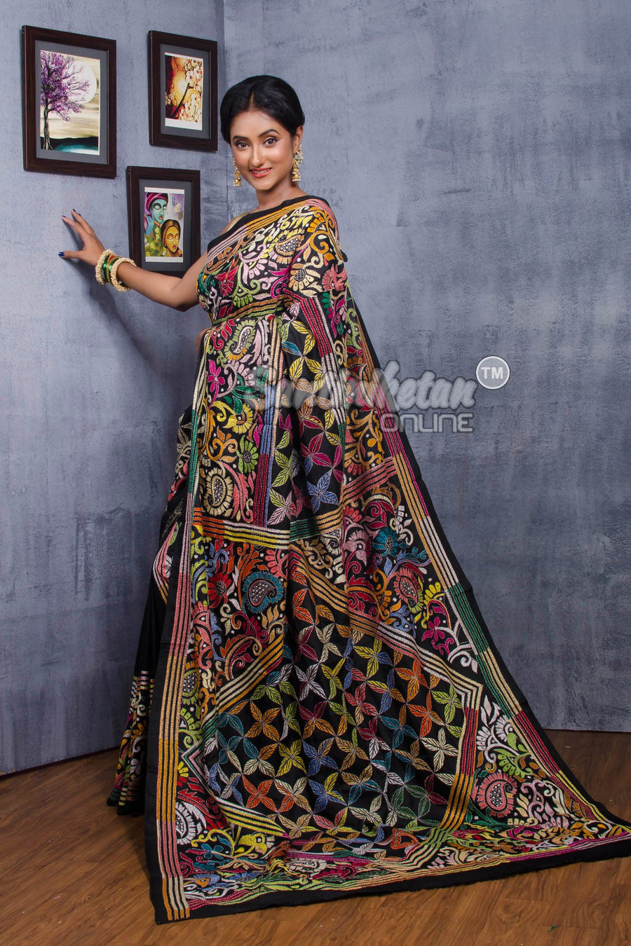 Kantha Stitch Saree SN2018758