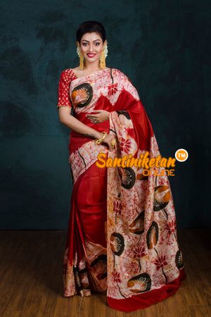 Hand Batik On Murshidabad Silk SN20181209