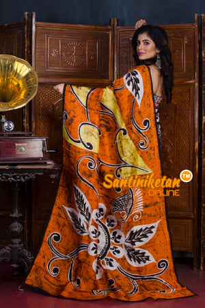 Hand Batik On Murshidabad Silk SN20190521