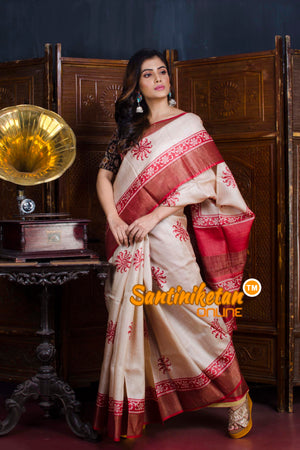 Hand Painted Tussar Silk SN20190621