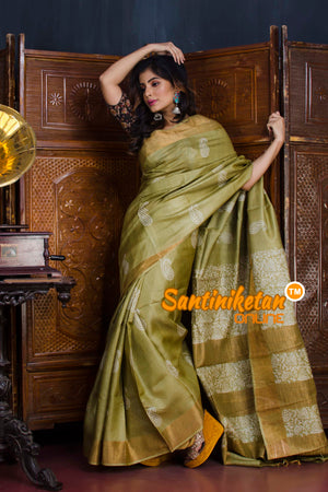 Hand Painted Tussar Silk SN20190637