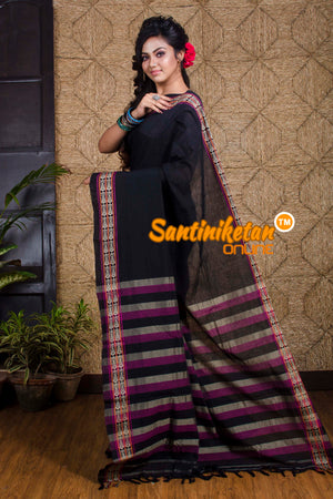 Jet Black Fish Motif Pure Cotton Saree SN20191966