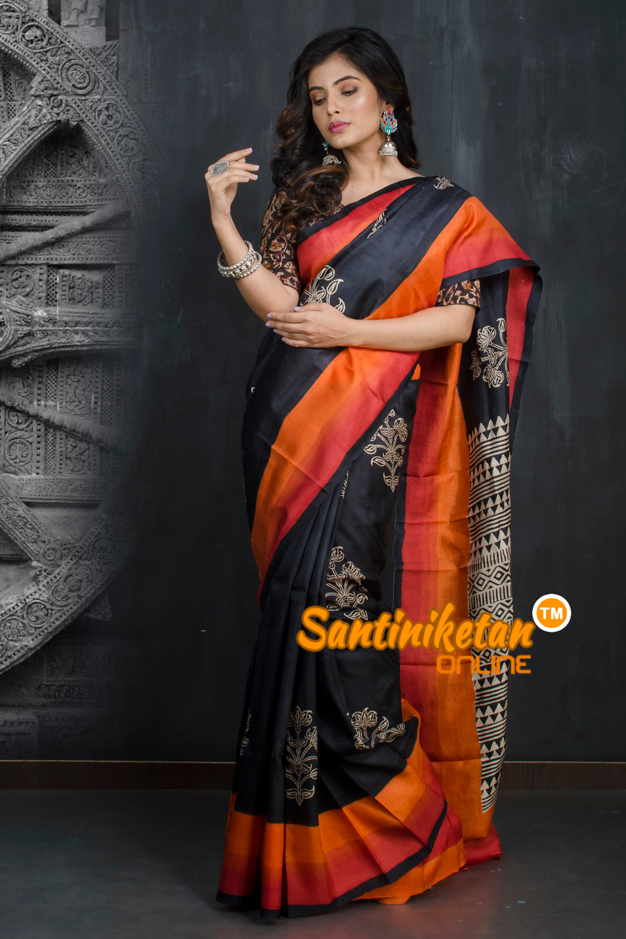 Hand Made Design On Murshidabad Silk SN20193317