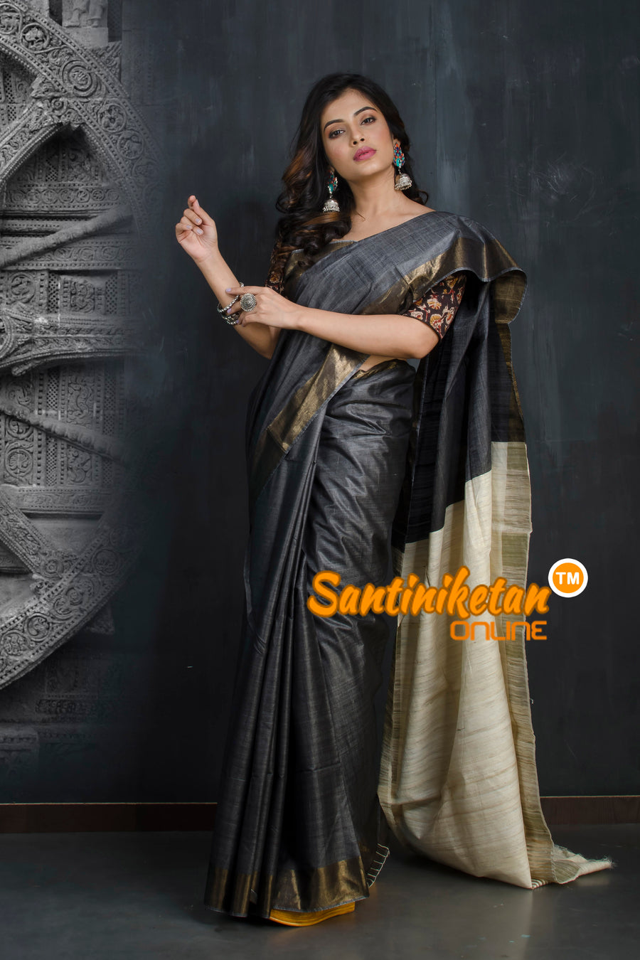 Trendy Zari Border Ghicha Anchol Saree SN20193332