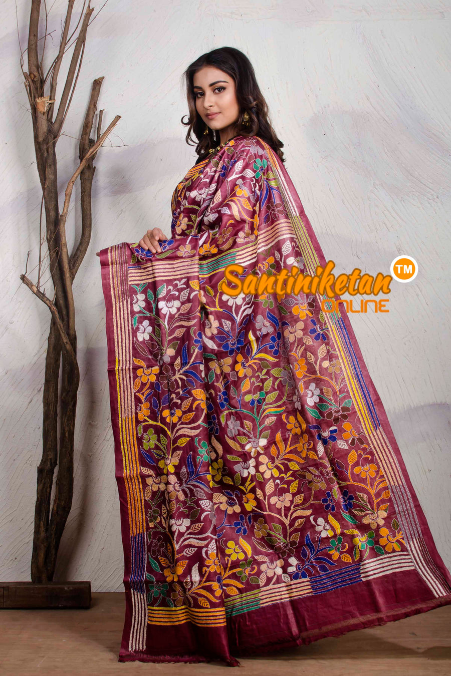 Kantha Stitch Saree On Pure Tussar SN20195282