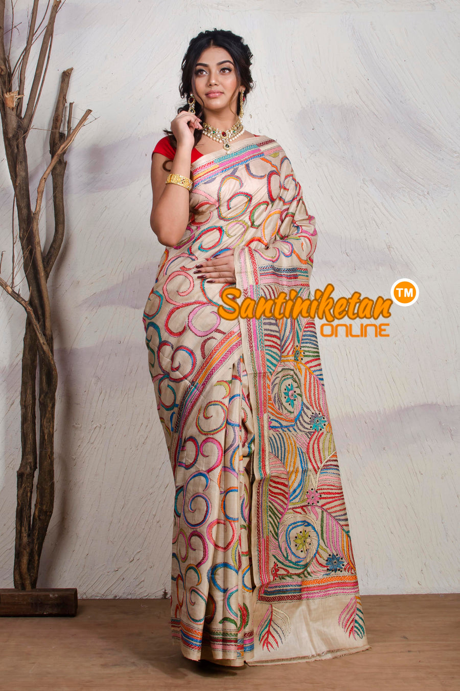 Kantha Stitch Saree On Pure Tussar SN20195387