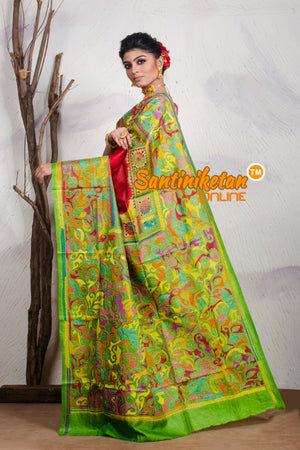 Kantha Stitch Saree On Pure Tussar SN20195429