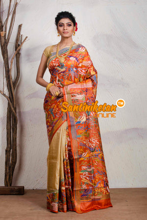 Kantha Stitch Saree On Pure Tussar SN20195496