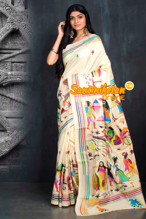 KANTHA STITCH SAREE ON PURE TUSSAR SN20195509