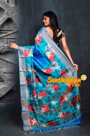 Hand Batik On Zari Tussar Silk SN20195515