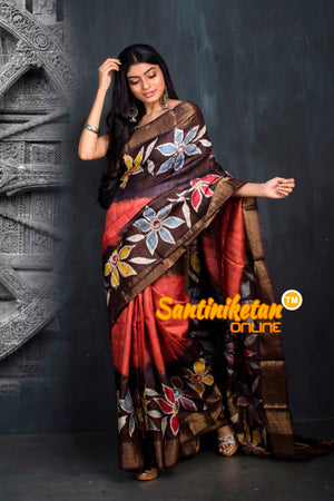 Hand Batik On Zari Tussar Silk SN20195521