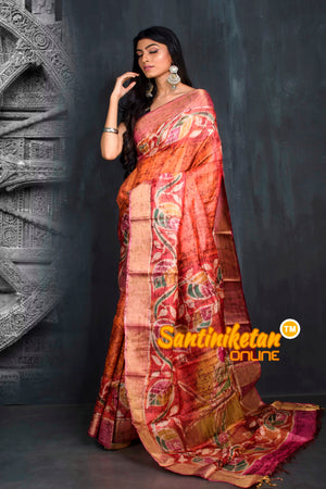 Hand Batik On Zari Tussar Silk SN20195539