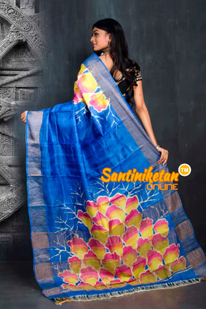 Hand Batik On Zari Tussar Silk SN20195548