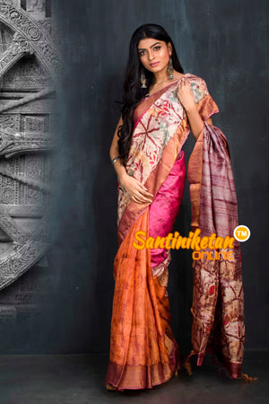 Hand Batik On Zari Tussar Silk SN20195557