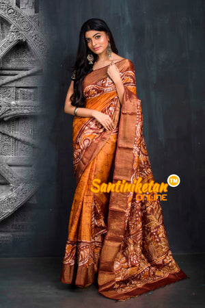 Hand Batik On Zari Tussar Silk SN20195569