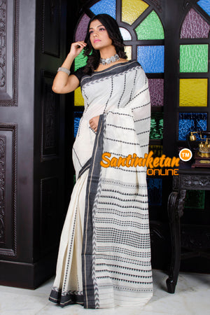 White All Over Tribal Work Begampuri Saree SN20195679
