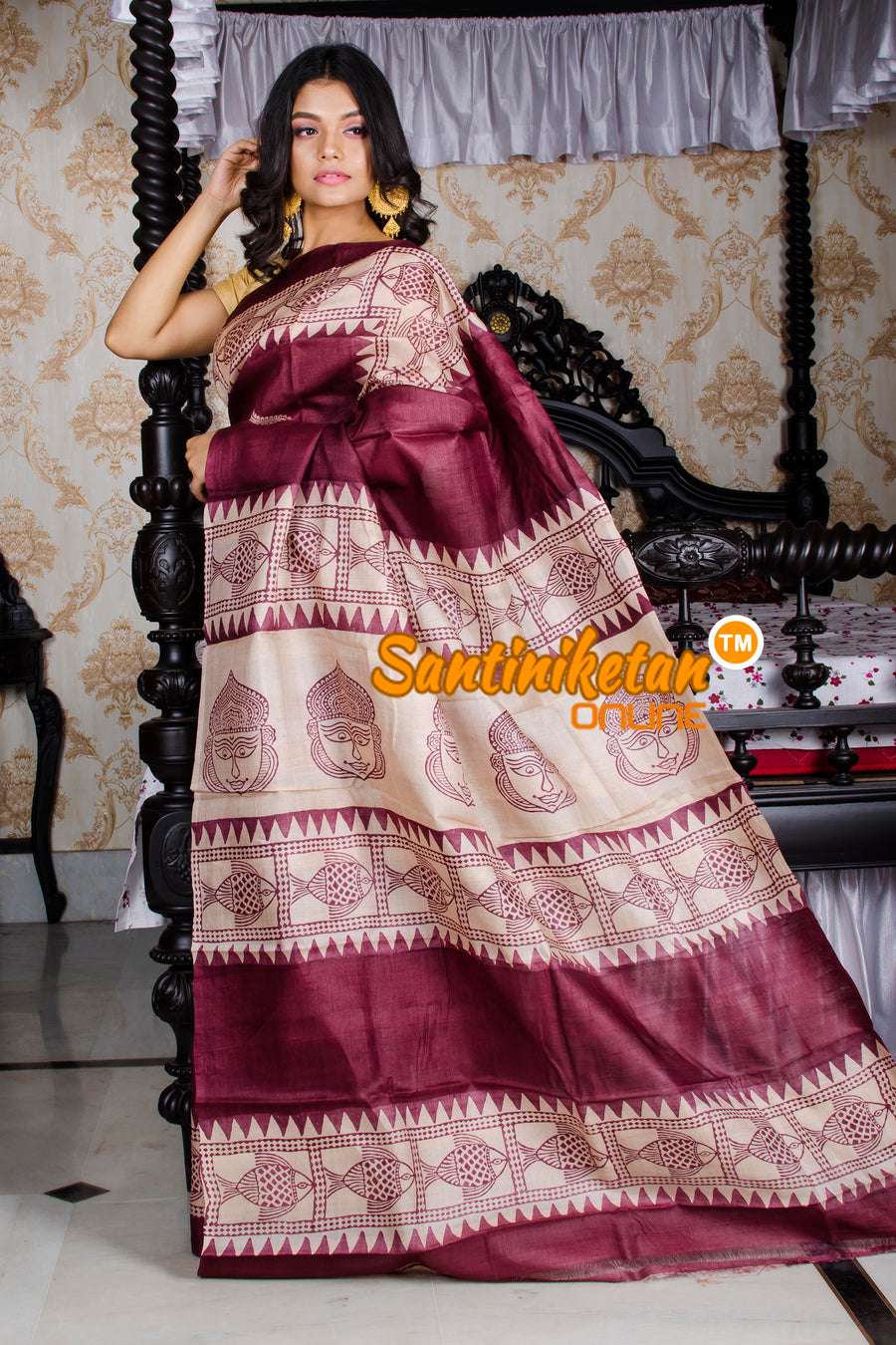 Hand Block On Murshidabad Silk SN20205880