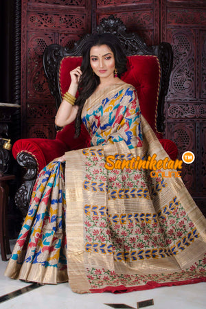 Zari Border Digital Print On Ghicha Silk SN20197252