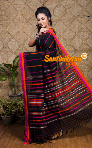 Jet Black And Pink Color Design Border Begampuri (SN2017251)
