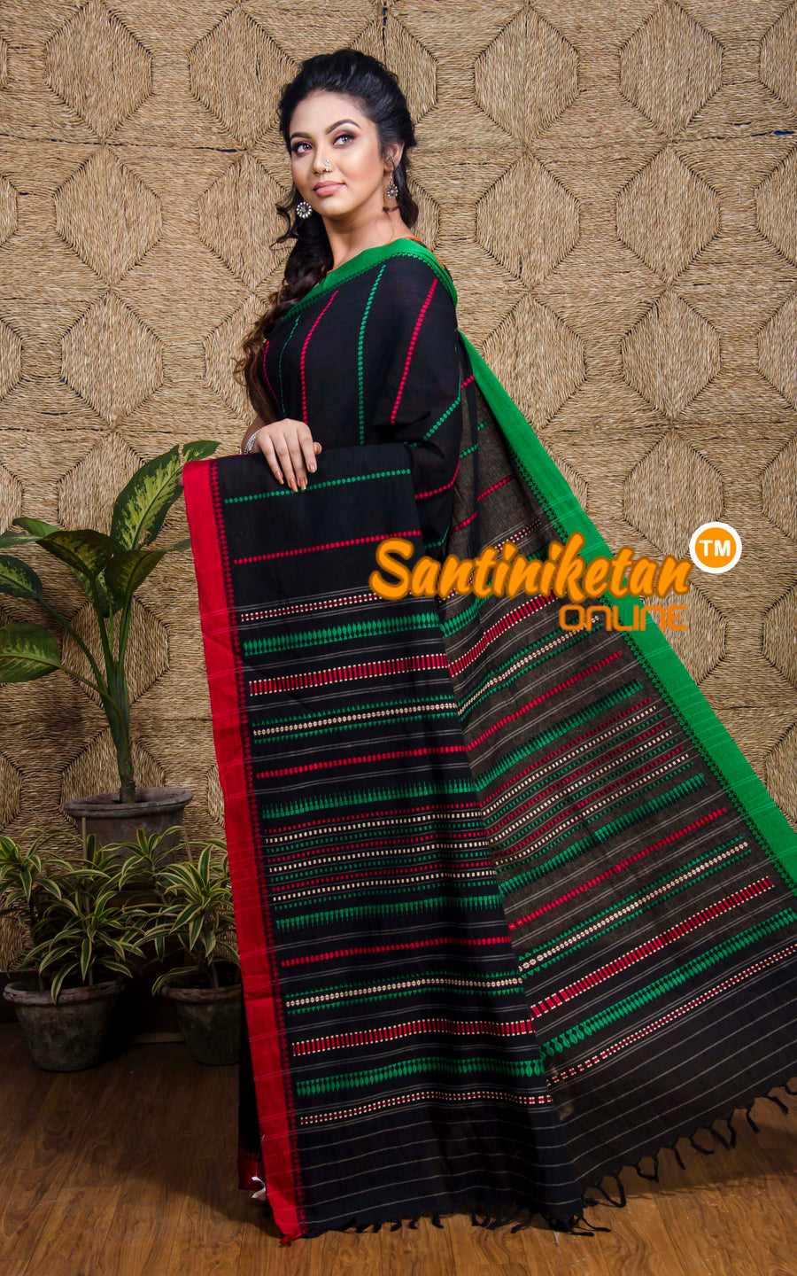 Red And Green Border Full Tribal Work Begampuri (SN2017255)
