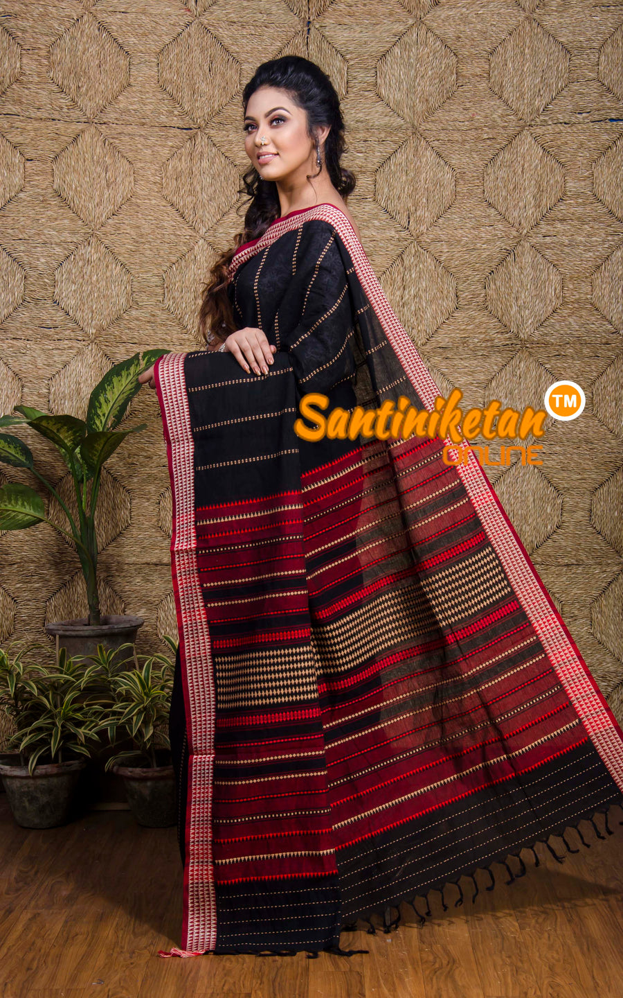 Begampuri In Black With Design Border (SN2017253)