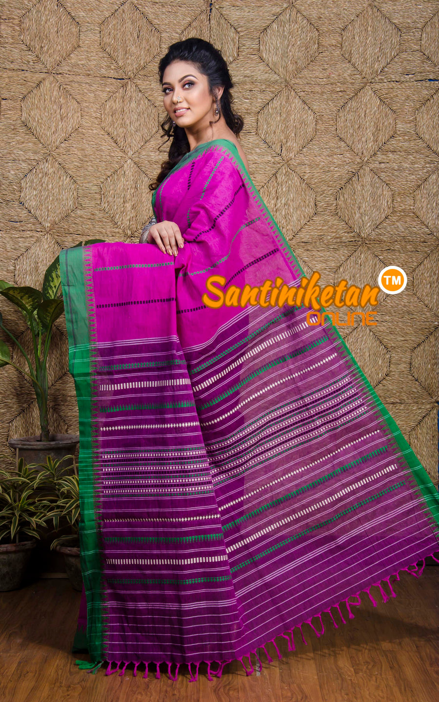 Wine Color Body And Green Border With Full Tribal Work (SN2017227)
