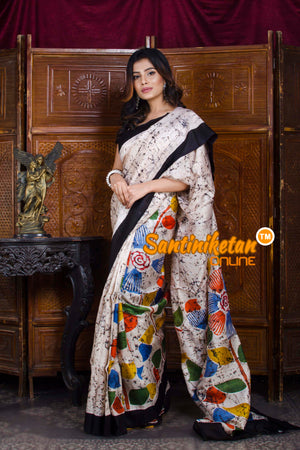 Hand Batik On Murshidabad Silk SN20198538