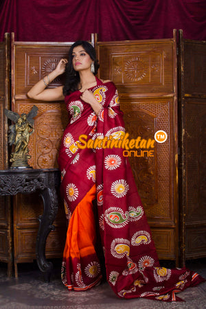 Hand Batik On Murshidabad Silk SN20198643